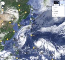 台風の現在の状態確認にはGoogleMAPの天気情報レイヤーが一番なんじゃないか~今更シリーズ~ - つるはしにっき