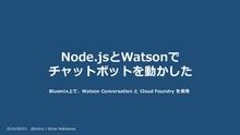 【OSC2016 Enterprise 懇親会LT】 Watson Conversationを使ったチャットボットを動かした